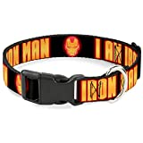 Dog Collar Plastic Clip Iron Man Face I Am Iron Man Black Yellow Glow 15 to 26 Inches 1.0 Inch Wide