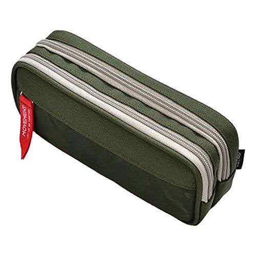 PING - Estuche de gran capacidad para lápices con cremallera doble, bolsa para bolígrafos escolares, suministros de oficina