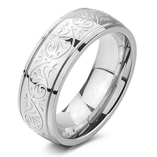 MunkiMix 7mm Acero Inoxidable Anillo Ring Banda Venda El Tono De Plata Grabado Florentino Diseño Talla Tamaño 4~15 7 Hombre