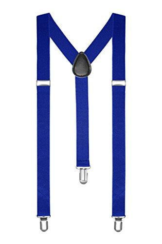 Autiga® Hosenträger Herren Damen Hosen Träger Y Form Style Clips Schmal Neon Bunt Farbig blau