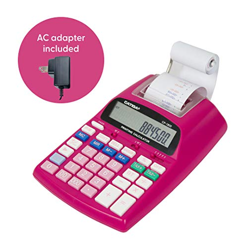 Catiga 12-Digit Desktop Printing Calculator with Tax Functions, Two Color,2.03 Lines/sec, with AC Adapter, CP-1800 for Home/Office, Comes with AC Guaranteed (Pink,with AC)