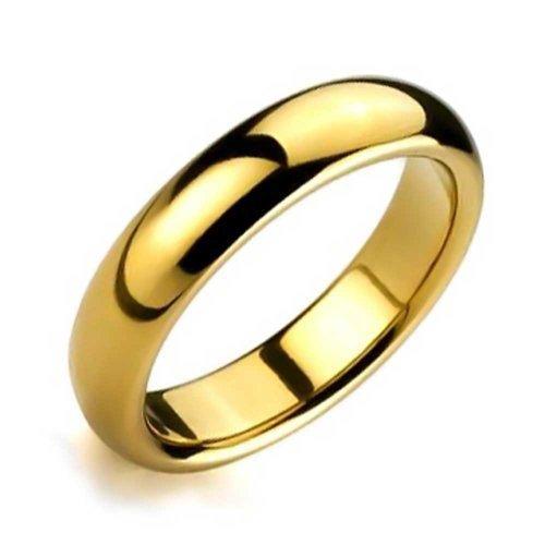 Bling Jewelry Coppie Cupola Fede Nuzia Lucidati 14K Placcato Oro Anello di Tungsteno Peri Uomini per Donne Il Massimo Comfort 6Mm