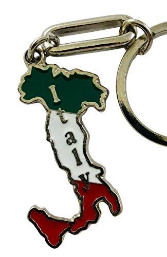 Llavero de metal con diseño de mapa de la bandera italiana con bolsa de regalo
