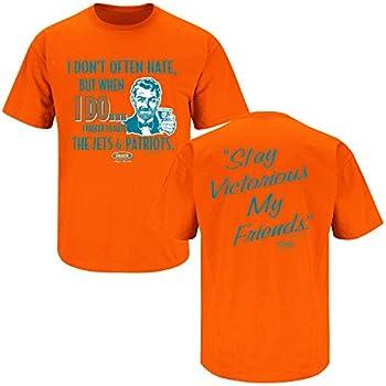 Miami Football Fans Stay Victorious  Anti-NE  Orange T-Shirt  Sm-5X   Short Sleeve Large