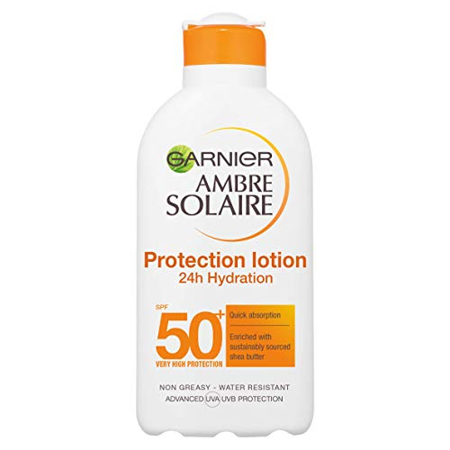 Garnier Ambre Solaire Ultra-Hydrating Shea Butter Sun Protection Cream SPF50+, Hydrating High Sun Protection Lotion SPF50+ 200 ml