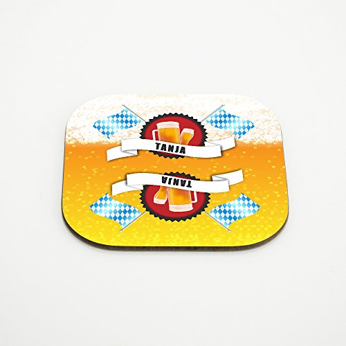 Untersetzer für Bier-Gläser mit Namen Tanja und schönem Bier-Motiv mit weiss-blauen Flaggen