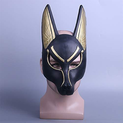 Egipcio Anubis Cosplay Máscara De La Cara PVC Canis Spp Lobo Cabeza Animal Mascarada Props Fiesta Halloween Fancy Dress Ball
