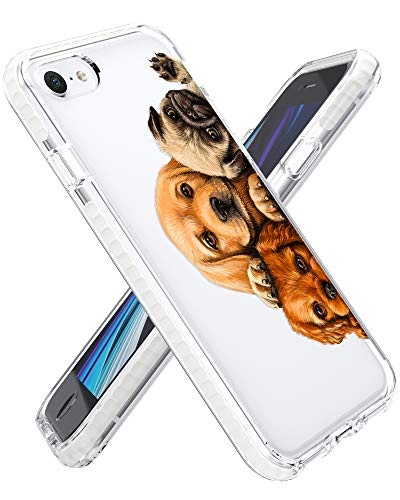 Rose Lake Animal Phone Case for iPhone SE 2020 iPhone 8 iPhone 7 Cover, Cute Dogs Pet Pattern Clear Girls Women Boys Men TPU Shockproof Bumper Back Case 4.7-inch