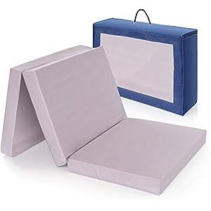 Base colchón cuna de viaje plegable 120×60 cm/Altura 6 cm – funda de algodón lavable, transpirable, sin sustancias…