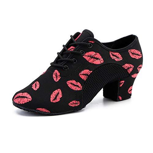 JUODVMP Women & Men Ballroom Dance Shoes Lace-up Closed Toe Modern Jazz Latin Practice Teaching Performance Dance Shoes,Model 902 NJB-Red Lips-5CM-MD, 7.5 B(M) US