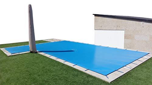 INTERNATIONAL COVER POOL Toldo de Invierno para Piscina 8 x 4m más 15 cm por Cada Lado para Anclaje (8,3 x 4,3m) de Color Azul (Exterior) / Negro (Interior) + Saco de Almacenaje de Regalo