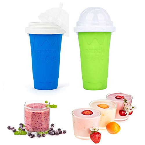 2PCS Slushy Maker Ice Cup, Magic Quick Frozen Smoothies Cup Cooling Cup Double Layer Squeeze Cup Slushie Maker, Homemade Milk Shake Ice Cream Maker DIY it for Children and Family,blue,green