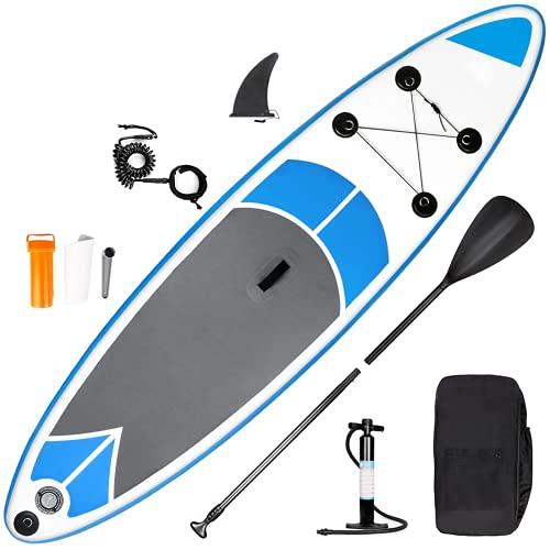 SMOOL Tabla de Surf de Remo Hinchable de 15 cm de Grosor, Juego Completo de Tabla Sup, Bomba de Alta presión, Remo, Mochila, Juego de reparación de 145 kg (Azul-Gris 305cm)