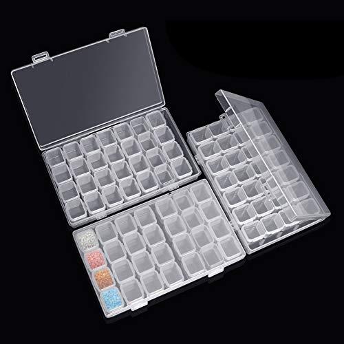 Diamond Painting Box,3pcs Diamant-Stick-Box,Diamond Painting Zubehör,5d Diamant Aufbewahrungbox,Diamant Stickerei Box mit 28 Mini-Fächern Gitter für DIY Kunst Handwerk