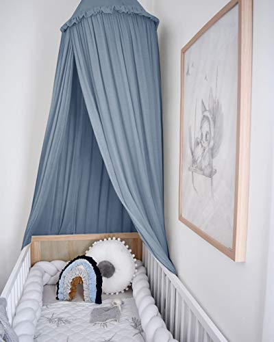 MAMERIA Kids Bed Canopy with Frills Cotton Mosquito Net for Baby Crib Reading Nook Curtain Hideaway Hanging Round Tent Nursery Bedding Play Room Decor (Blue)