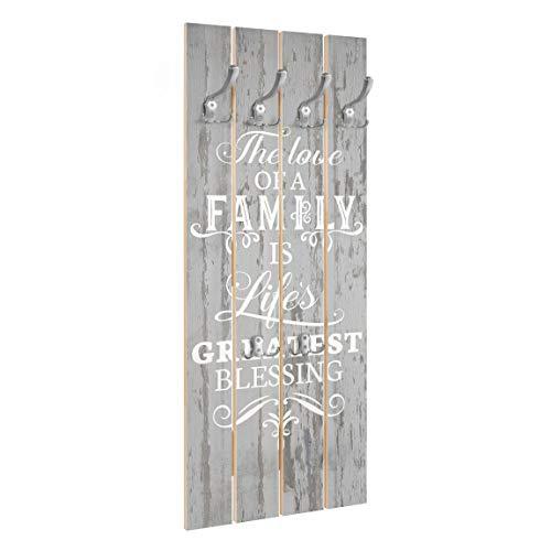 Bilderwelten Wandgarderobe Holz - Shabby Holz - Family is - Haken Chrom, 100x40 cm