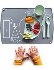 EzrAllora - Toddler Placemat for Dining Table - Montessori Placemat - Easy Clean Table Setting Placemat Will Help Your Child Develop Independent Eating Skills - Non-Slip Kids Silicone Placemat