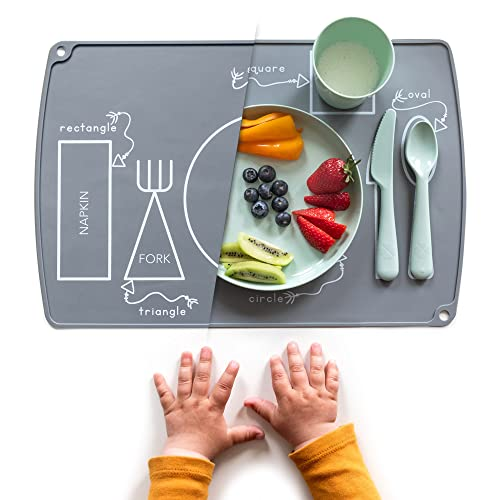 EzrAllora - Grey Toddler Placemat for Dining Table - Montessori Placemat - Easy Clean Table Setting Placemat Will Help Your Child Develop Independent Eating Skills - Non-Slip Kids Silicone Placemat