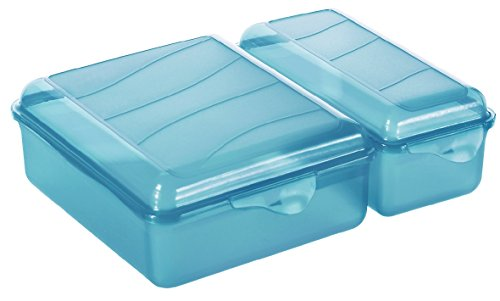 Rotho Funbox Twin Vesperdose, Kunststoff (BPA-frei), blau, 1.05 Liter + 0.55 Liter (22 x 16,5 x 7 cm)
