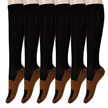 Graduated Copper Compression Socks 6 Pairs Anti Fatigue Knee High Socks for Men Women Pain Ache Relief Stockings 15-20 mmHg  XXL Black