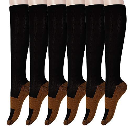 Graduated Copper Compression Socks 6 Pairs Anti Fatigue Knee High Socks for Men Women Pain Ache Relief Stockings 15-20 mmHg (XXL, Black)
