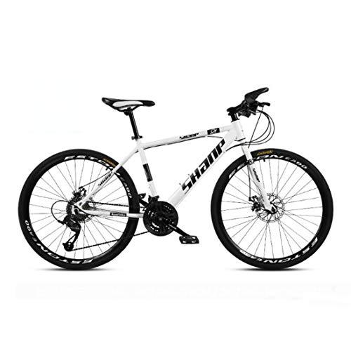 CPY-EX 24 Mountain Bike inch Uomo, Alta-Acciaio al Carbonio per Mountain Bike, Bicicletta della Montagna Sedile Regolabile, 21,23,27,30 velocità, Nero Rosso Bianco Spoke,C,30