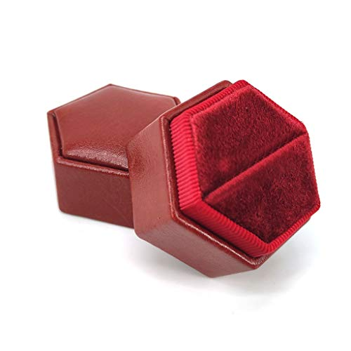 VEED Velvet Single Ring Box Octagon Wedding Ceremony Ring Box for Jewelry with Lid