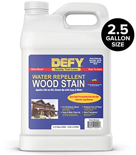 DEFY Water Repellent Wood Stain, Log Home Stain & Log Sealer for Log Cabins - Teton Bronze, 2.5 Gallon