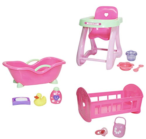 JC Toys Deluxe Doll Accessory Bundle | High Chair, Crib, Bath and Extra Accessories for Dolls up to 11' | Fits 11' La Baby & Other Similar Sized Dolls, Pink (81453)