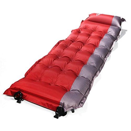 Materasso da campeggio Outad auto-gonfiabile. Leggero e super spesso con cuscino per campeggio, escursioni e tende., Red