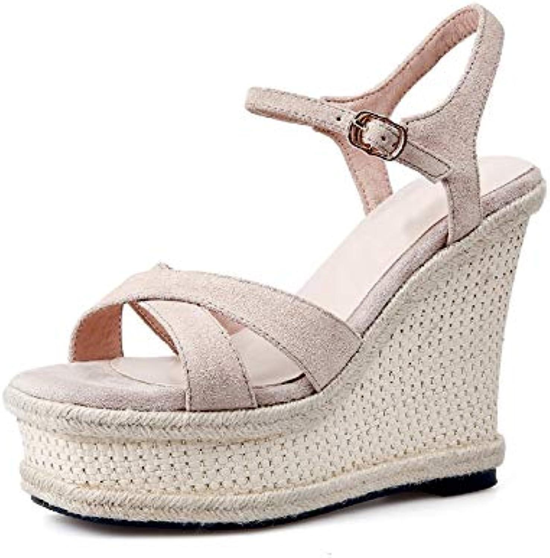 HOESCZS Neue Kuh Wildleder Sommer Sandalen Schuhe Frau Mode Plattform Keil High Heels Party Frauen Sandalen,    Outlet Online