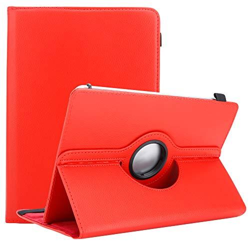 Cadorabo Funda para Tableta para Xperia Tablet Z2 (10.1 Zoll) SGP521 en Rojo - Funda Protectora de Piel sintética con función de Soporte - Funda de 360 Grados con Banda elástica