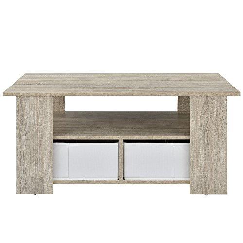 [en.casa] Table de Salon (90 x 50 x 41 cm) en plaqué (chêne) boîtes de Rangement (Blanc - façon Lin) avec étagère et boîtes de Rangement