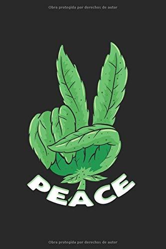 Weed Paz fumar marihuana Cuaderno: conjunto Cuaderno de notas A5 cuaderno punteado Organizador Bloc de notas y conductos Bloque de escritura Regalo y conductos cuadernillo a cuadros