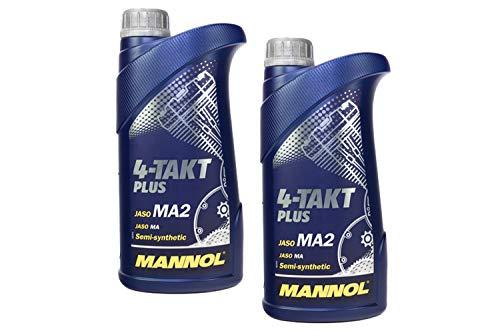MANNOL 4-Takt Plus API SL SAE 10W-40 teilsynthetisch 2 Liter Motorrad ÖL Motorradöl Roller