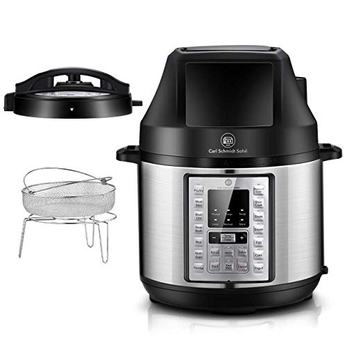 1829CSS Pressure Cooker and Air Fryer Combos 6.5Qt, 21-in-1 Programmable Pressure Pot with Detachable Pressure & Crisp Lid, LED Digital Touchscreen, 3Qt Air Fry Basket,Free Recipe Book, 1500W