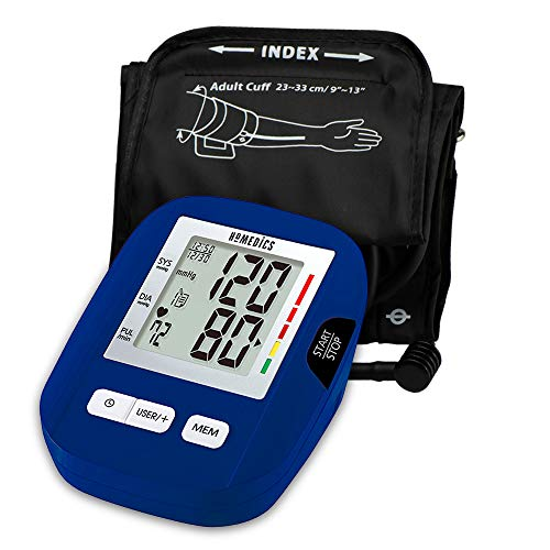 HoMedics, Upper Arm Blood Pressure Monitor | Easy One-Touch Operation, 120 User Memories (60 Per User) | Standard Sized Cuff and Storage Bag Included