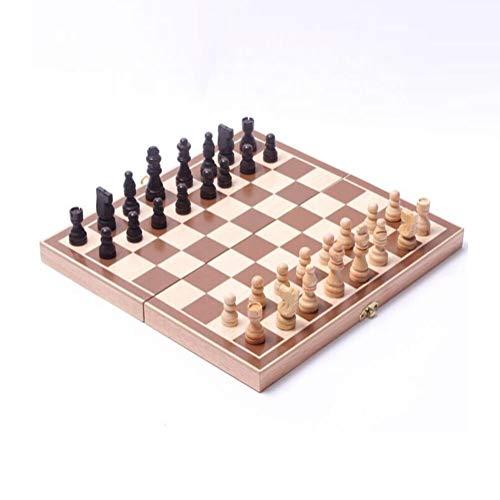 M.Q.L. Schachspiel Schach Erwachsene - Einklappbar Schachbrett Holz - Klappbar Chess Board Set mit Aufbewahrungsbox - Lässiges Puzzle-Strategiespiel - 30x30cm