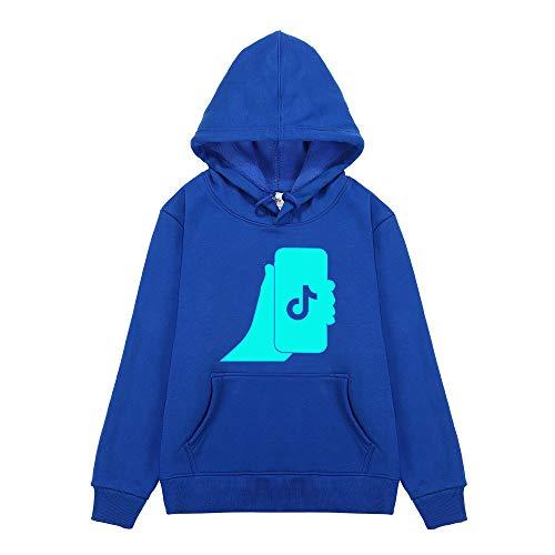 YRYBZ TIK Tok Boy Girl Sudadera con capucha de Algodón Top para Niños con Bolsillo, Impresión Noctilucente y Suéter de Terciopelo/blue/XXL