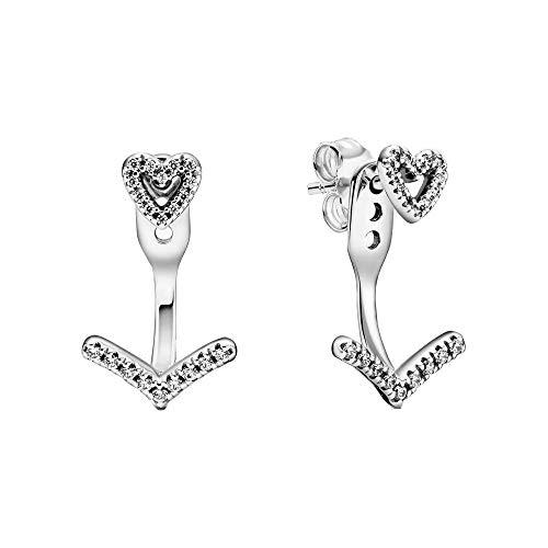 Pandora Wish Wishbone - Pendientes de plata de ley con circonitas (1,7 cm)