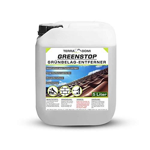 TerraDomi 5 Liter Greenstop für 1500m² I Grünbelagentferner gegen Moos, Flechten, Algen I Dach- und Steinreiniger I effektiver Moosvernichter und Fassadenreiniger I Hochkonzentriert, sehr ergiebig