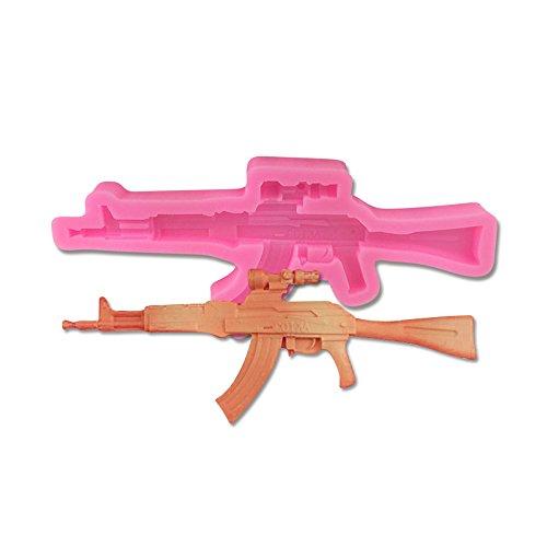 Moule en silicone en forme de pistolet Pour Fondant Savon 3D Cupcake Bonbon en gelée Décoration en chocolat Outil de cuisson Moules Ak Gun