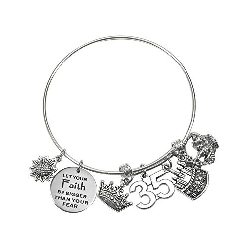 TUUXI 1pcs Birthday Gifts Bracelet 2.36 Inch Silver Tone Steel Bangle Charm Bracelet 35th Birthday Gift for Sister Friend Women Wife Girl Present Jewelry