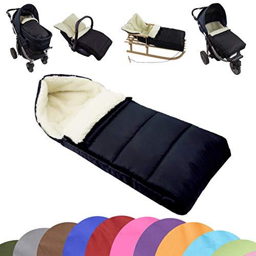 BAMBINIWELT universele wintervoetenzak (90 cm), ook geschikt voor babyschaal, kinderwagen, buggy, van wol effen gelinieerd zwart