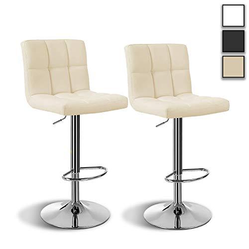 HW Arvioo Barhocker 2er Set, höhenverstellbare Barstühle, Barstuhl aus Kunstleder, 360° Drehstuhl, Küchenstühle mit Rückenlehne & Fußstütze, Tresenhocker küchenstühle Drehhocker,Lobby, Tresen (Beige)