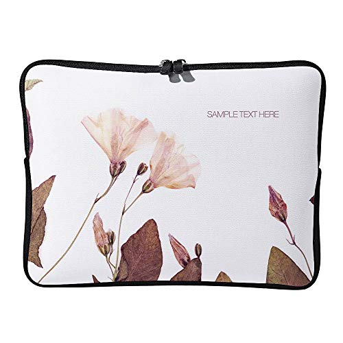 AmaUncle Pressed and Dried Flowers Background Laptop Sleeve Case Water-Resistant Protective Cover Portable Computer Carrying Bag Pouch for Laptop SW13009 17 inch/17.3 inch