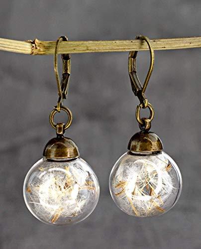 Pusteblume Ohrringe Bronze - Sichere Verschluss - Handverlesen - Echte Löwenzahn Samen