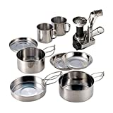 AIWAYING 9pcs Mini Camping Cooking Set Mess kit Collapsible Hiking Stainless Steel Nonstick Pot Pan with Camp Stove Tripod Container Accessories for Outdoor Camp