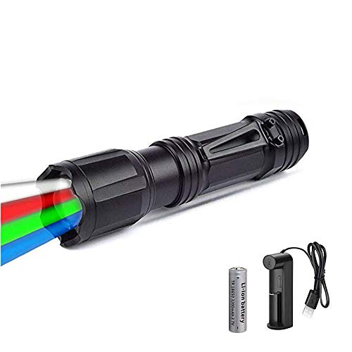 Linterna LED de 4 colores en 1, WESLITE Linterna Multicolor Recargable con Luz Roja, Verde, Blanca, Azul Zoom Linterna RGBW Linternas de Señal con para Exteriores para Visión Nocturna, Camping, Pesca