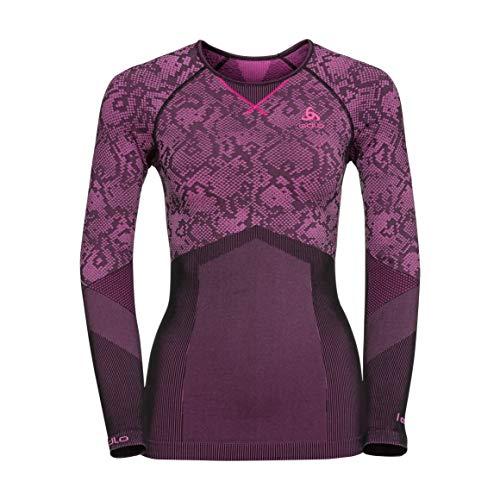 Odlo Blackcomb Evolution Warm Shirt L/s CN Pull sans Manche, Multicolore (Black/Pink Glow 60096), 32 (Taille Fabricant: X-Large) Femme